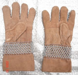 Medieval Knight Gauntlet Suede Iron European Chainmail Armor Gauntlets