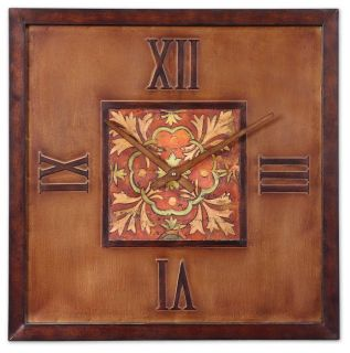 Mediterranean Tile Design Wall Clock Spanish Colorful Art Center