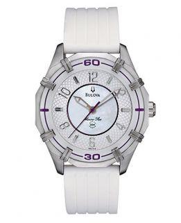 Bulova Watch, Womens Marine Star White Polyurethane Strap 36mm 96L144