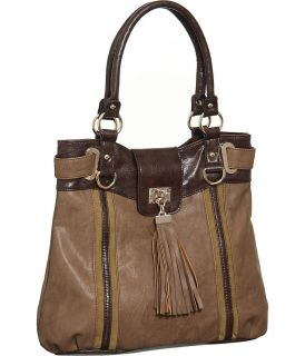 Taupe and Dark Brown Tess Tote Designer Melie Bianco