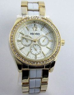 Ladies Henley Crystals MOP Watch White Enamel Gold Silv