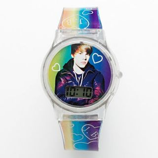 Justin Bieber Rainbow Band with Heart Details Plastic LCD Watch