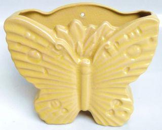 McCoy Yellow Ceramic Butterfly Vase Wall Pocket Planter