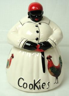 McCoy Black Americana Mammy Roosters Cookie Jar Cream White Dress