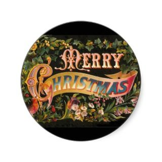 Vintage Merry Christmas Flower Design Sticker