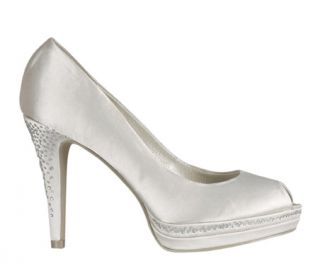 £75 Bridal Bling Crystal Satin Wedding Menbur Shoes Ivory UK4 8 37 41