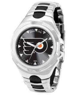 Game Time Watch, Mens Philadelphia Flyers Black Rubber and Stainless