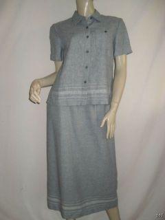 Norton McNaughton Petite Large PL Linen Shirt Skirt Set Spring Career