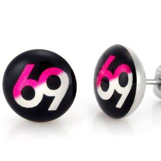 New Trendy Mens Stainless Steel Black 69 Stud Earrings Jewelry