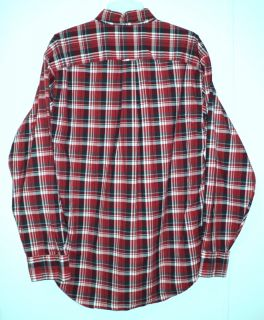 Red Plaid Checkered Nautica Mens Button Down Formal Long Sleeve Polo