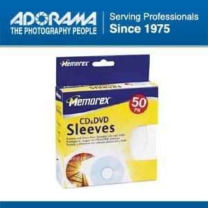 Memorex CD DVD Sleeves White 50 Pack with Window Flap 01960