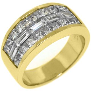 Mens 3 25 Carat Princess Baguette Cut Diamond Ring Wedding Band 18kt