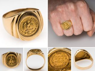Mens Mexican Coin Ring 1945 Dos Pesos Solid 18K Gold Fine Estate