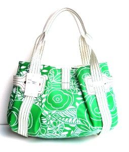 Melie Bianco Green Floral Print Shoulder Bag Handbag Satchel Tote Hobo