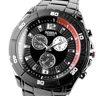 Fashion Casual Mens Quartz Steel Band Wrist Watch Black