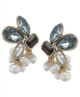 Carolee Earrings, Gold Tone Glass Pearl Epoxy Stone Cluster Button
