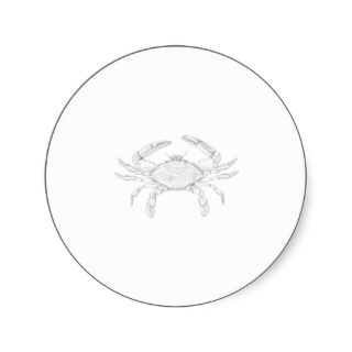 Blue Crab Line Art Logo Round Sticker