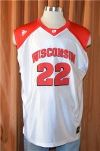 UNIVERSITY BADGERS #22 ADIDAS RED WHITE BASKETBALL JERSEY MENS LARGE