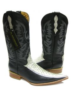 Mens Black Leather Boots Designer Western Fancy Cowboy Rodeo Exotic