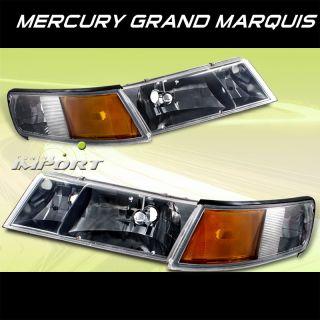 98 02 Mercury Grand Marquis GS LS LSE Smoke Headlights w Corner Lamp