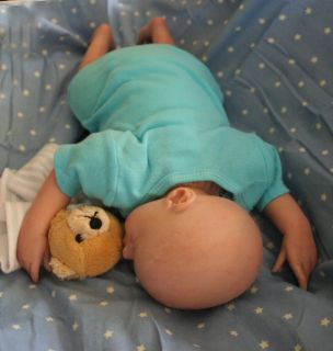 OOAK Reborn baby newborn boy doll 17, 3 outfits, paci & security bear
