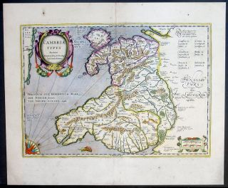 1639 Mercator Hondius & Humphrey Antique Map of Wales, Great Britain