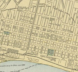 Memphis Tennessee Street Map Authentic 1887 Stations Landmarks More