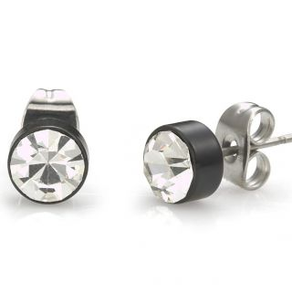 New Mens Stud Earrings Stainless Steel CZ Cubic Zirconium Black Silver