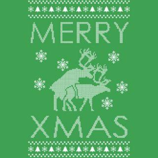 MERRY XMAS ~ SWEATSHIRT Reindeer Humping ugly christmas sweater ALL