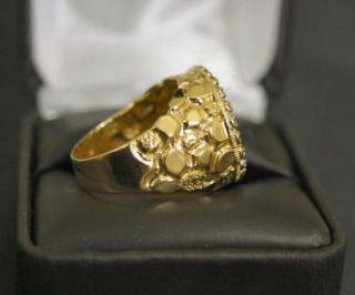 Mens 14k Gold Nugget Diamond American Eagle Gold Bullion Coin Ring