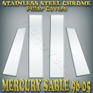 Mercury Sable 96 05 6pc Stainless Steel Pillar Covers Window Chrome