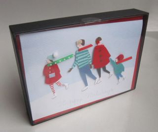 Meri Meri Greeting Cards Boxed Handmade Ice Skaters New
