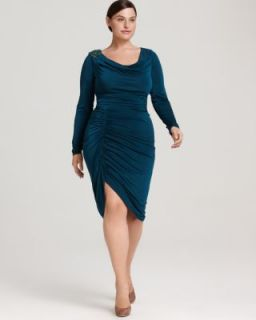 David Meister New Green Gathered Matte Jersey Applique Cocktail Dress
