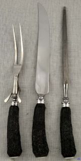 PC Stag Handle Carving Set Meriden Cutlery Sterling