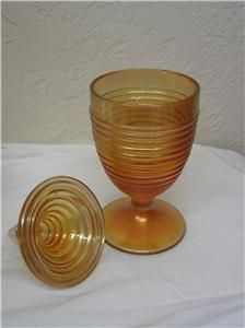 Merigold Carnival Glass Ringed Covered Candy Dish