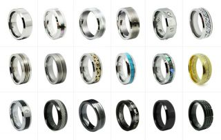 8mm Noble Tungsten Carbide Ring with Synthetic Turquoise Inlay Mens