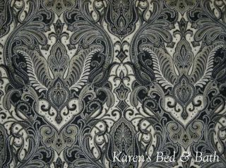 Cream Black Tan Paisley Custom Sewn Curtain Valance New