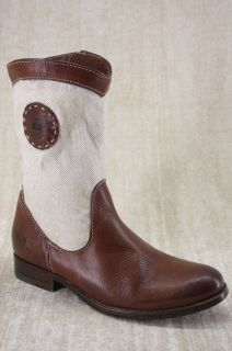 Frye Melissa Short Logo Brown Leather Boots 7 5 Cream Canvas Ankle