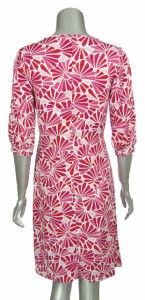 Melissa Masse Womens Pink Red White V Neck Floral Print Jersey Knit