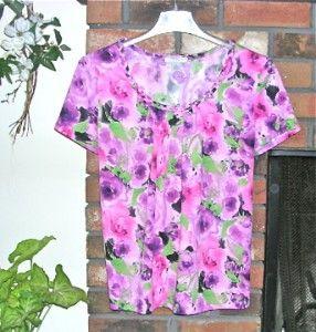 Mercer Street Studio Baby Doll Pink Purple Flower Top Braided Neckline