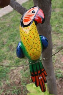 Hanging Parrot Mexican Folk Art Ceramic Clay Handpainted