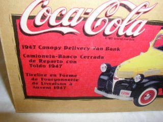 Ertl Coca Cola 1947 Canopy Delivery Van Bank Original Box Dated 1999