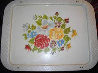 Vintage Metal TV Trays Set White with Flowers w Original Box 1960s