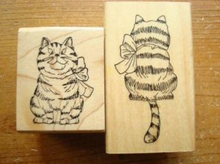 New Front Back of Striped Kitty Cat by Art Impressions Rubber Stamp