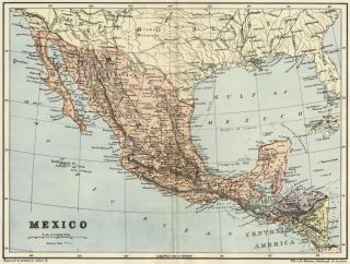 Mexico Map Authentic 1895; showing States, Towns, Cities Topography