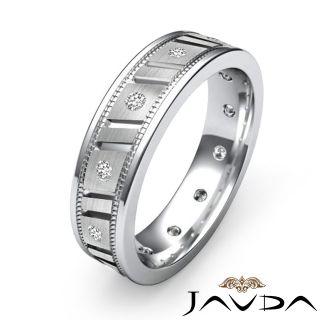 Round Bezel Diamond Eternity Ring Mens Wedding Solid Band 14k Gold