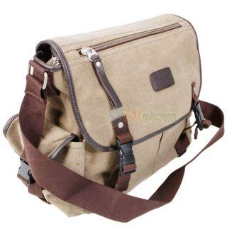 Mens Shoulder Tote Canvas Outdoor Travel Messenger Bag Khaki