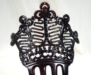 Victorian Hair Comb w French Black Jet Faceted Beads