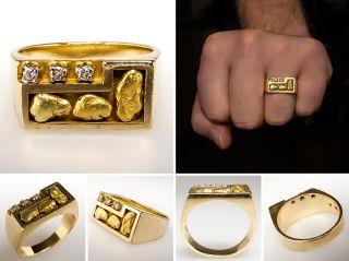 Mens Genuine Diamond Band Ring Natural Gold Nuggets & Solid 14K Estate