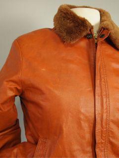 Vtg 70s Burnt Orange Rust Leather Bomber Jacket Aviator Coat Spy